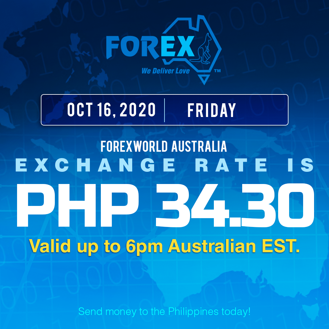 Australian Dollar Philippines Peso exchange rate October 16, 2020