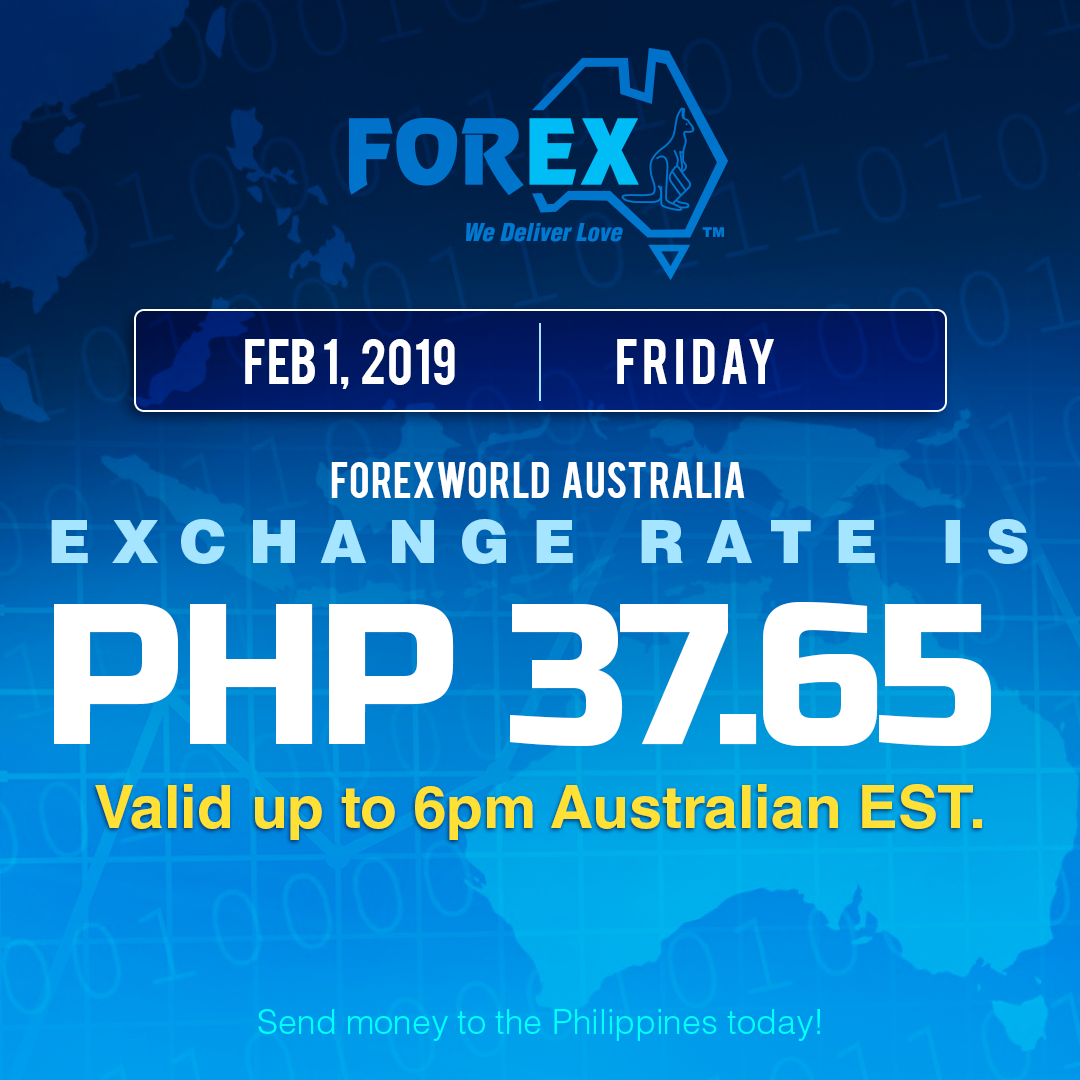 Australian Dollar Philippines Peso exchange rate February 1, 2019
