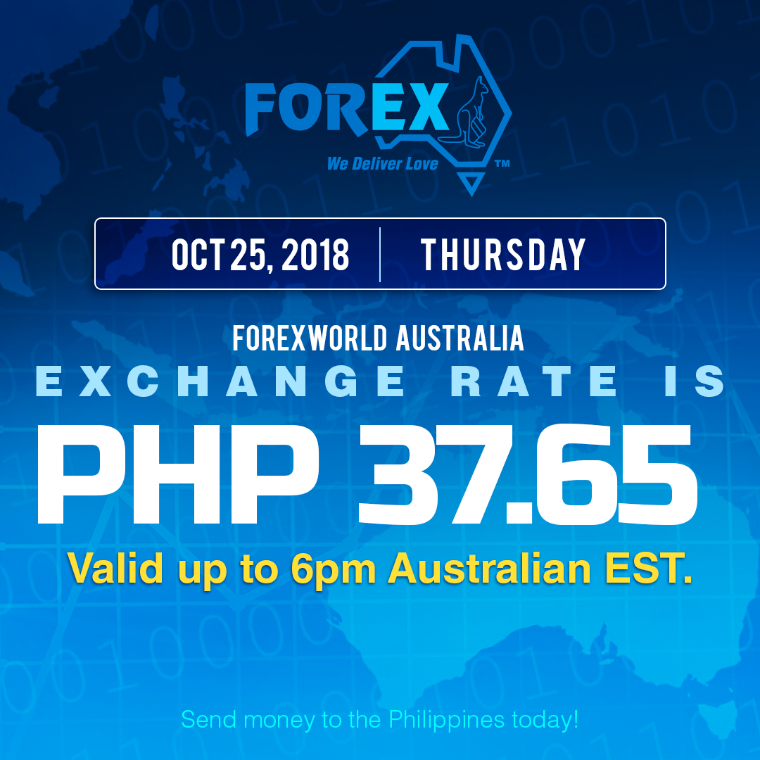 Australian Dollar Philippines Peso exchange rate October 25, 2018