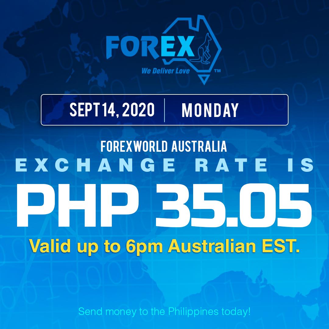 Australian Dollar Philippines Peso exchange rate September 14, 2020