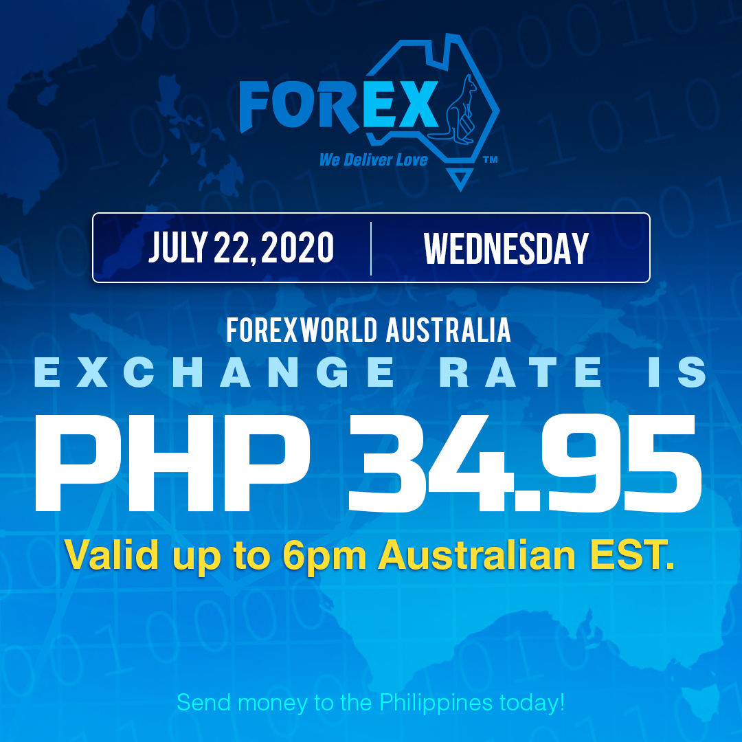 Australian Dollar Philippines Peso exchange rate July 22, 2020