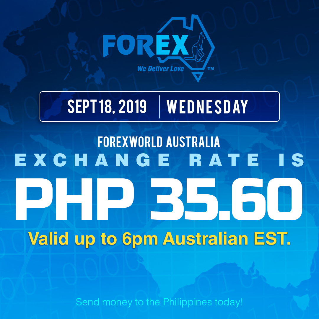 Australian Dollar Philippines Peso exchange rate September 18, 2019