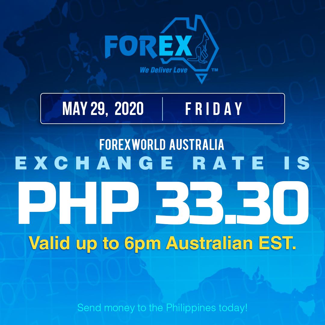 Australian Dollar Philippines Peso exchange rate May 29, 2020