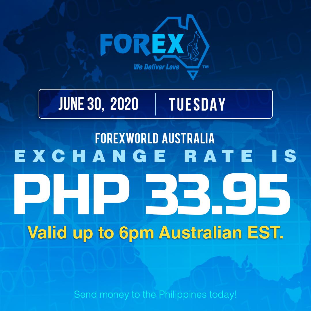 Australian Dollar Philippines Peso exchange rate June 30, 2020