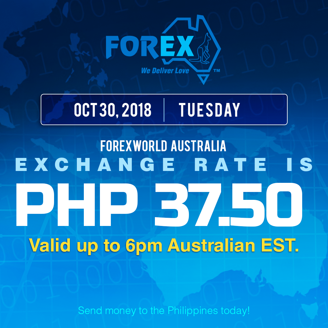 Australian Dollar Philippines Peso exchange rate October 30, 2018