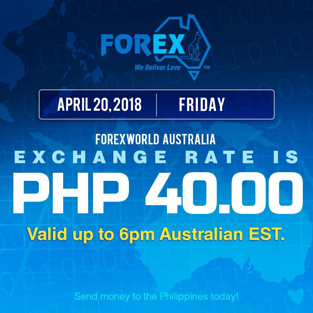 Australian Dollar Philippines Peso exchange rate April 20, 2018