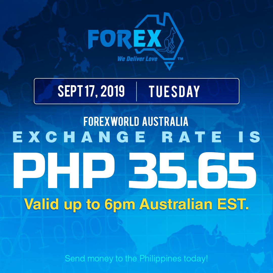 Australian Dollar Philippines Peso exchange rate September 17, 2019