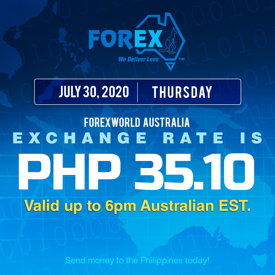 Australian Dollar Philippines Peso exchange rate July 30, 2020