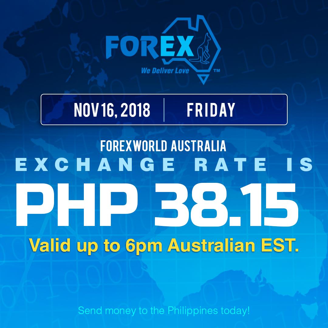 Australian Dollar Philippines Peso exchange rate November 16, 2018