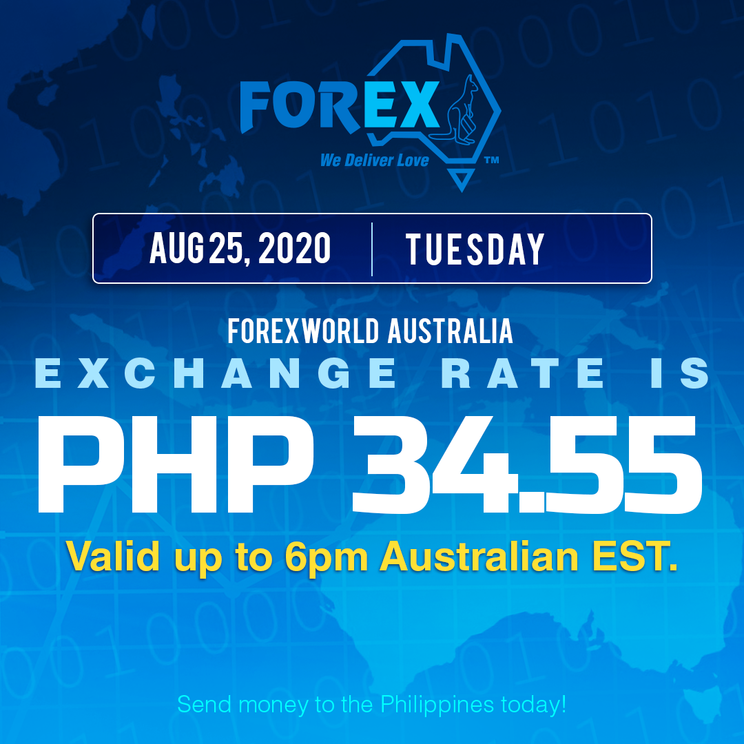 Australian Dollar Philippines Peso exchange rate August 25, 2020