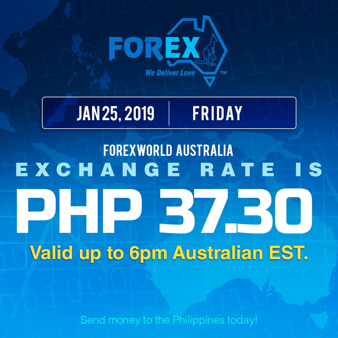 Australian Dollar Philippines Peso exchange rate January 25, 2019