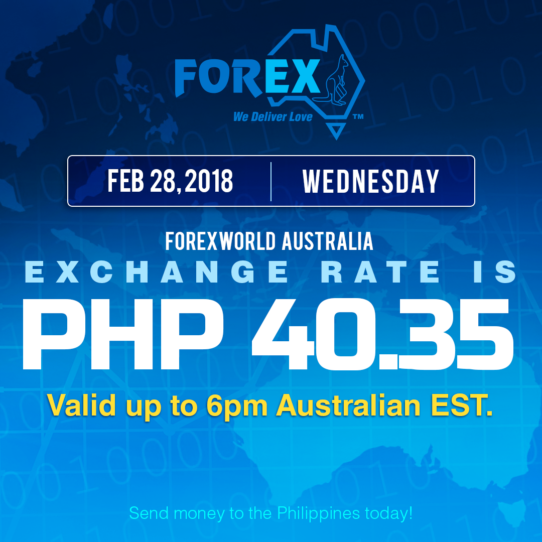 Australian Dollar Philippines Peso exchange rate February 28, 2018