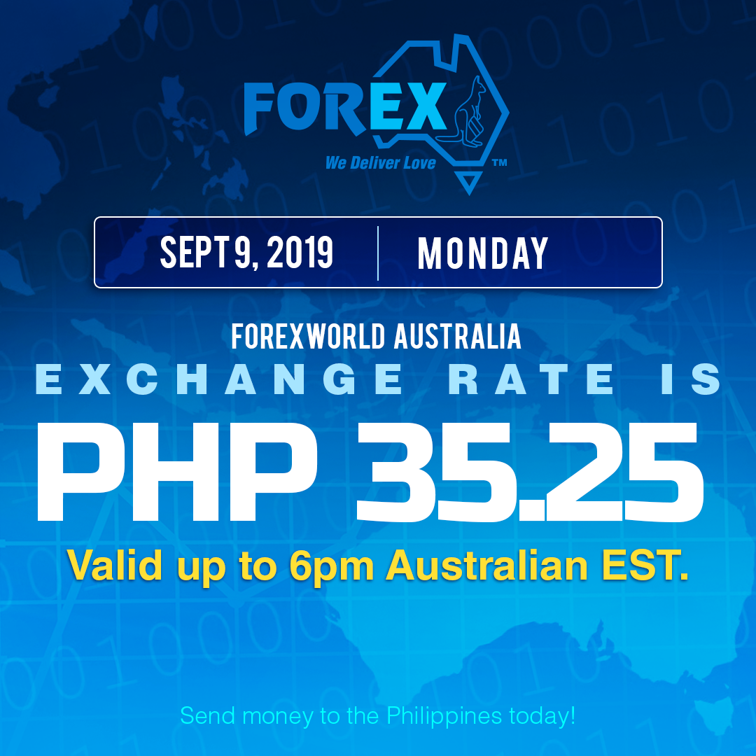 Australian Dollar Philippines Peso exchange rate September 9, 2019