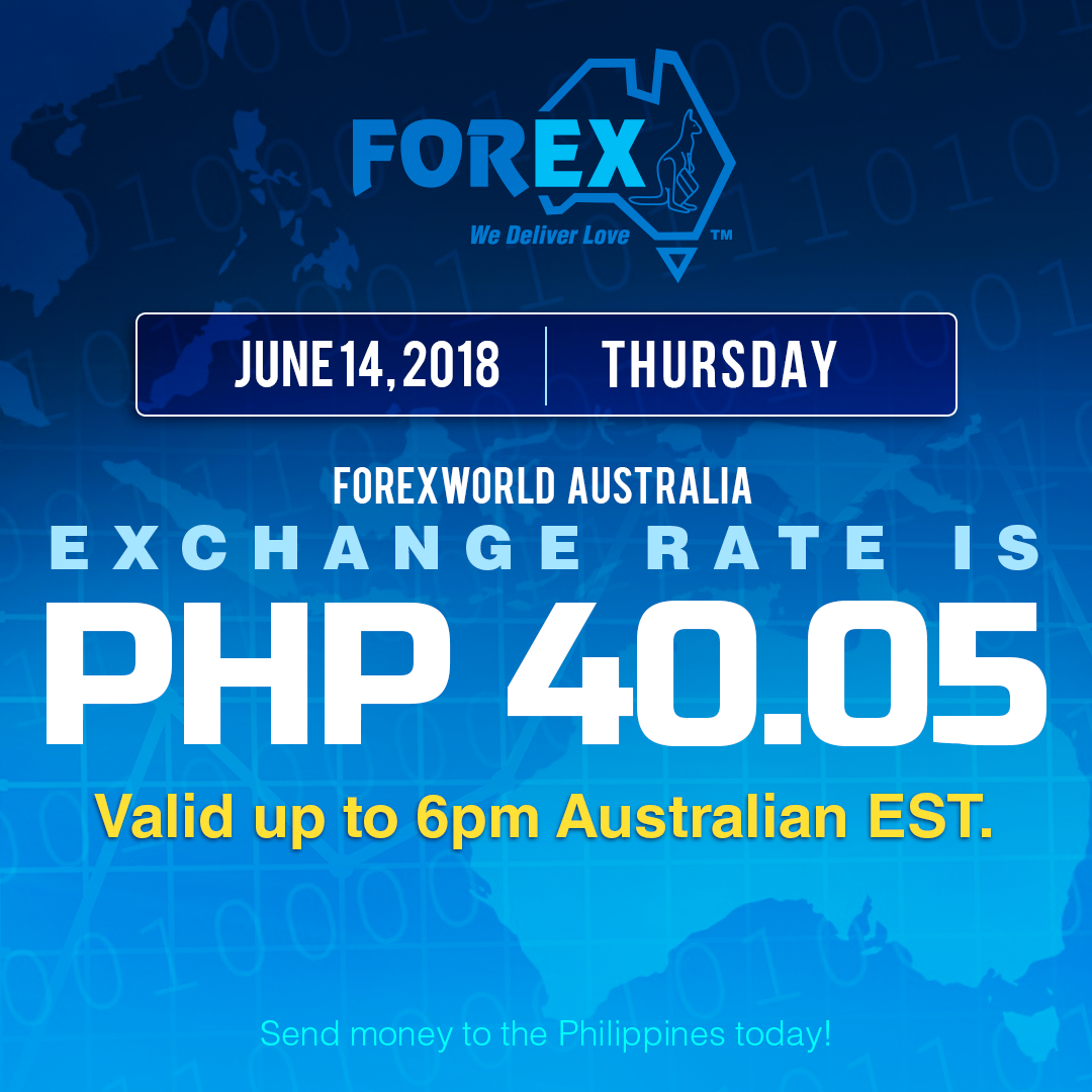 Australian Dollar Philippines Peso exchange rate June 14, 2018