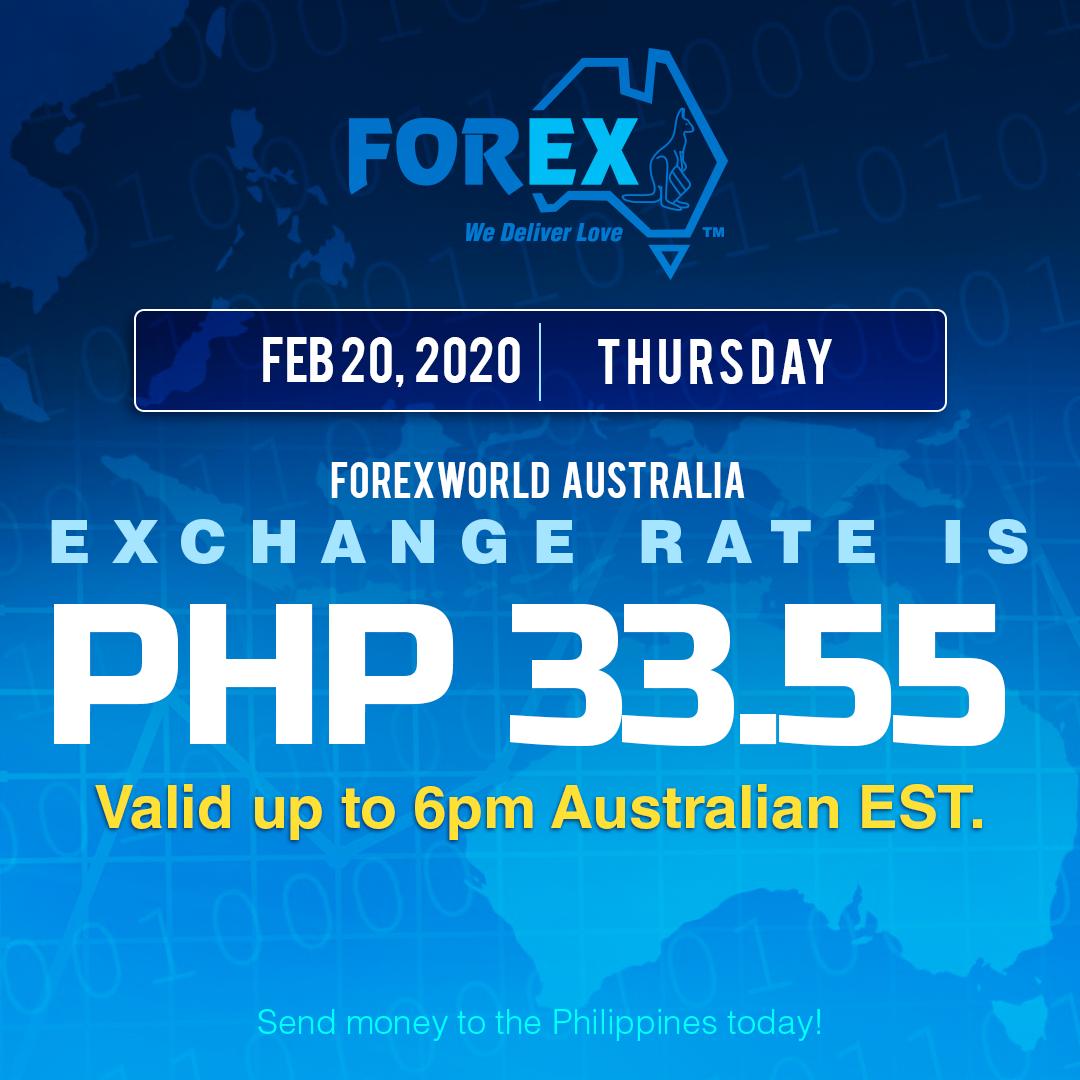 Australian Dollar Philippines Peso exchange rate February 20, 2020