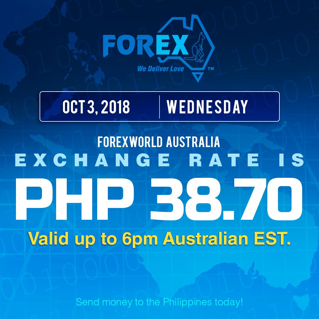 Australian Dollar Philippines Peso exchange rate October 3, 2018