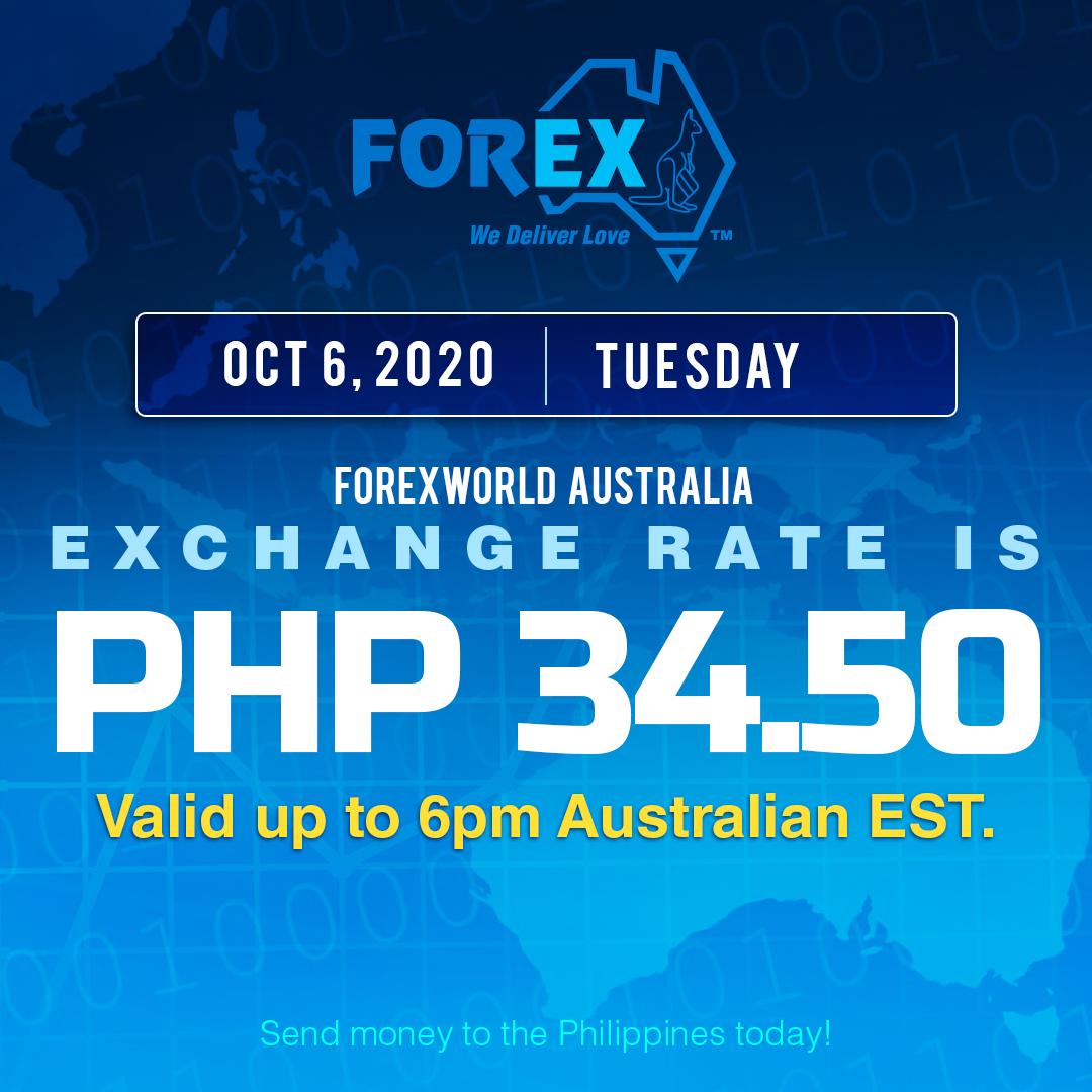 Australian Dollar Philippines Peso exchange rate October 6, 2020