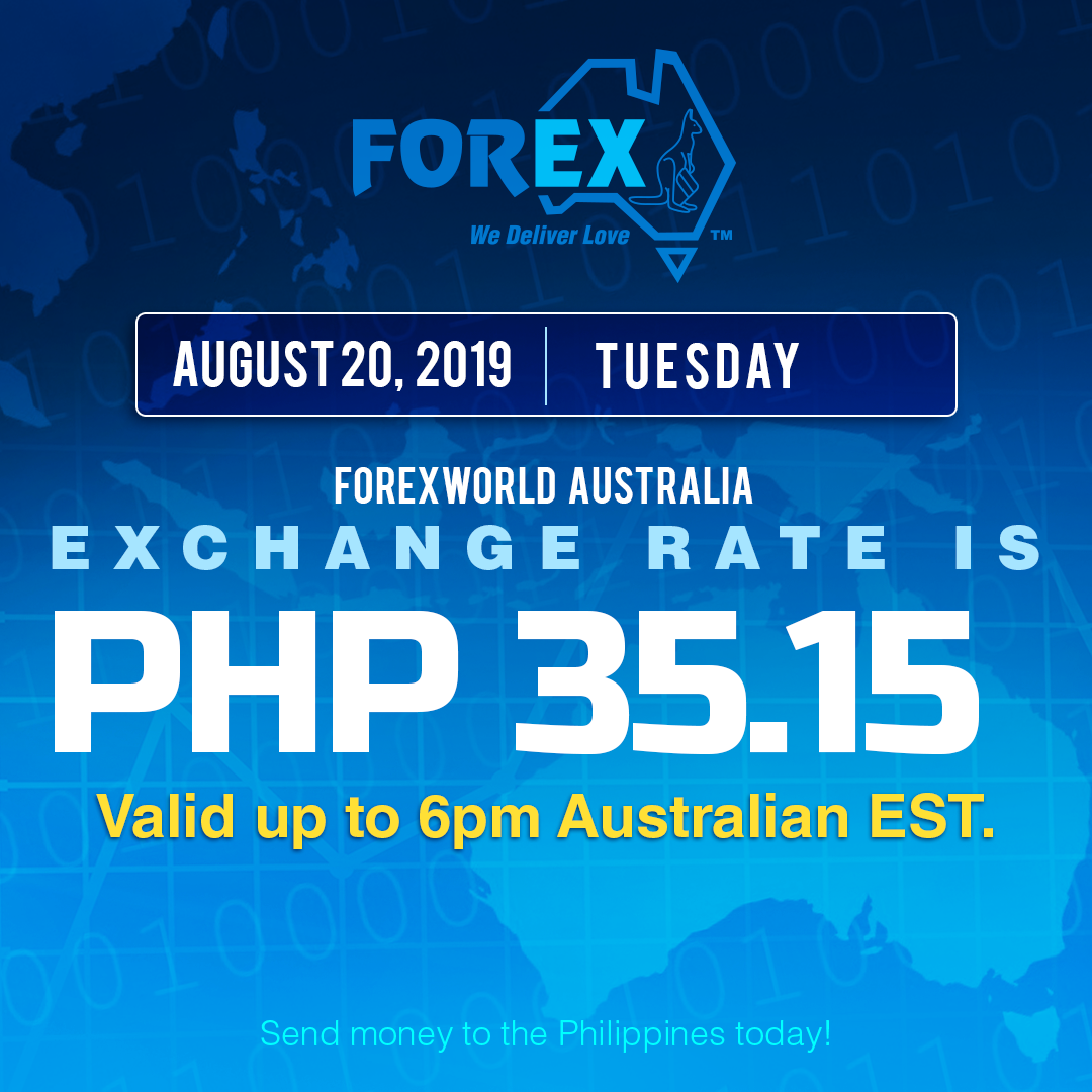 Australian Dollar Philippines Peso exchange rate August 20, 2019