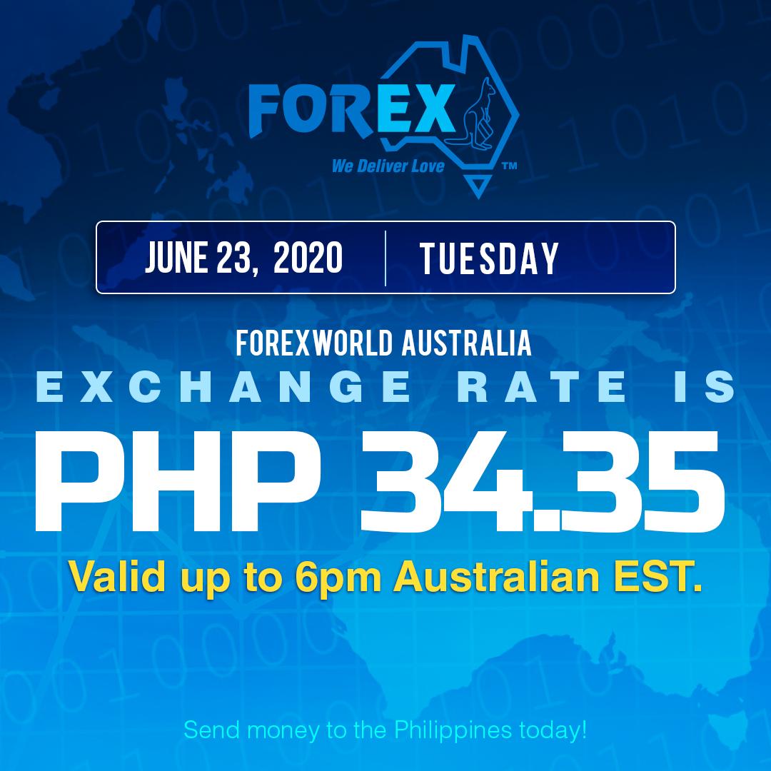 Australian Dollar Philippines Peso exchange rate June 23, 2020