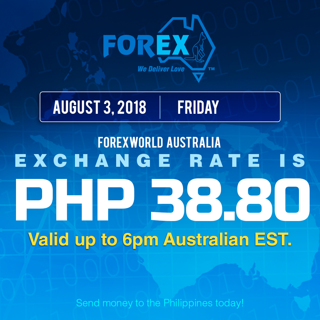 Australian Dollar Philippines Peso exchange rate August 3, 2018