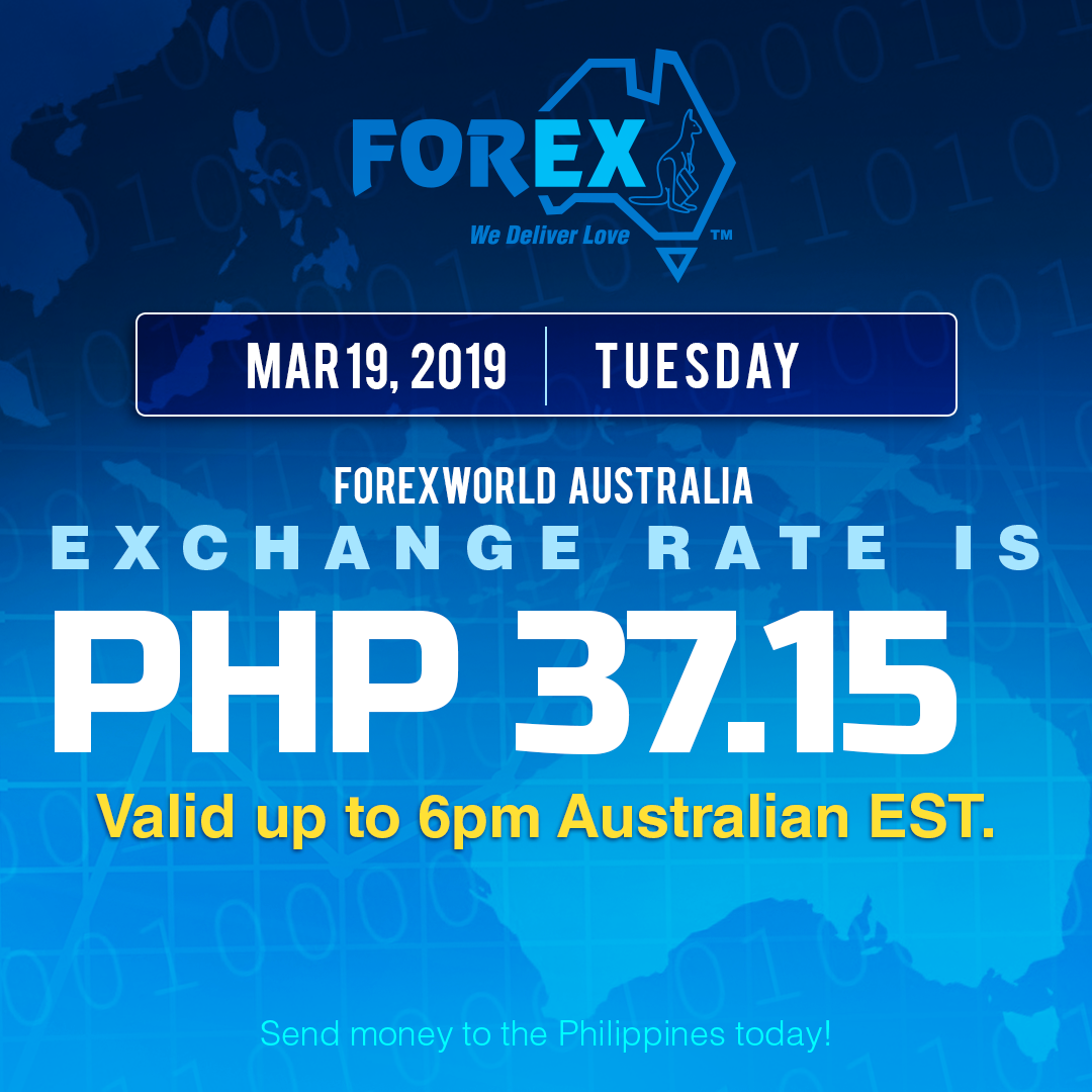 Australian Dollar Philippines Peso exchange rate March 19, 2019