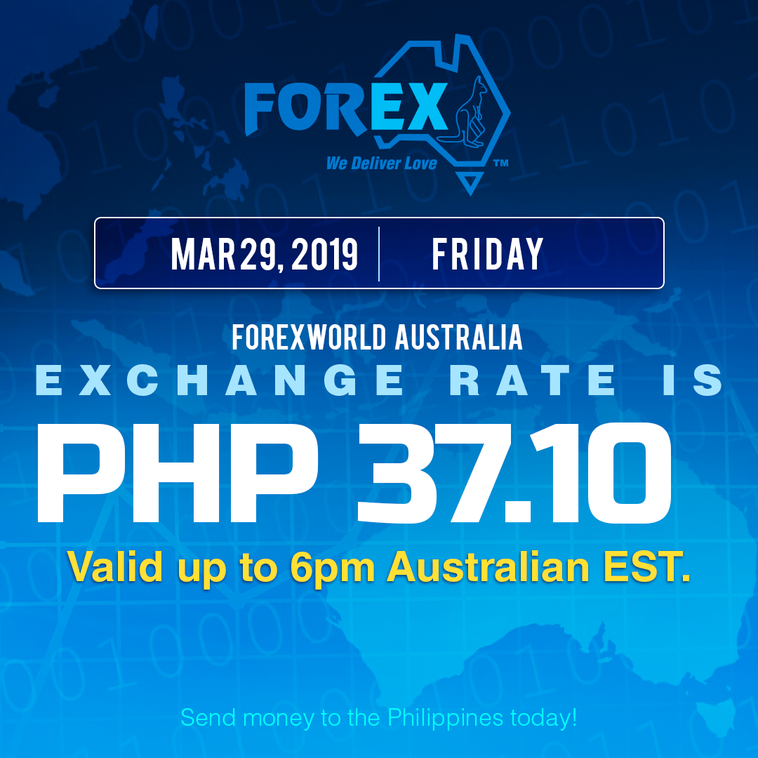 Australian Dollar Philippines Peso exchange rate March 29, 2019