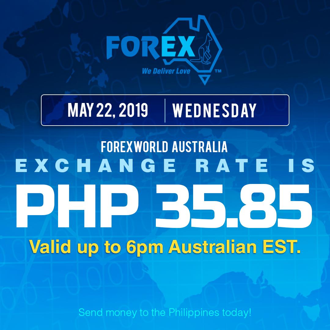 Australian Dollar Philippines Peso exchange rate May 22, 2019