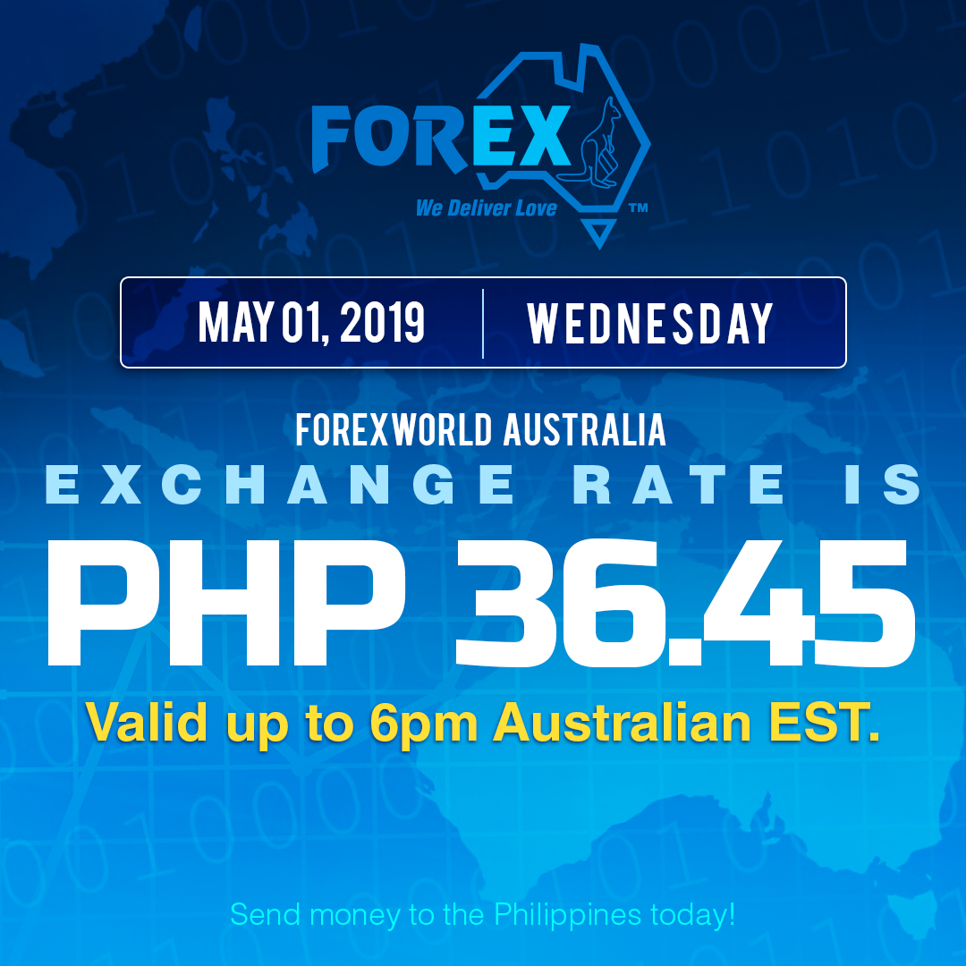 Australian Dollar Philippines Peso exchange rate May 1, 2019