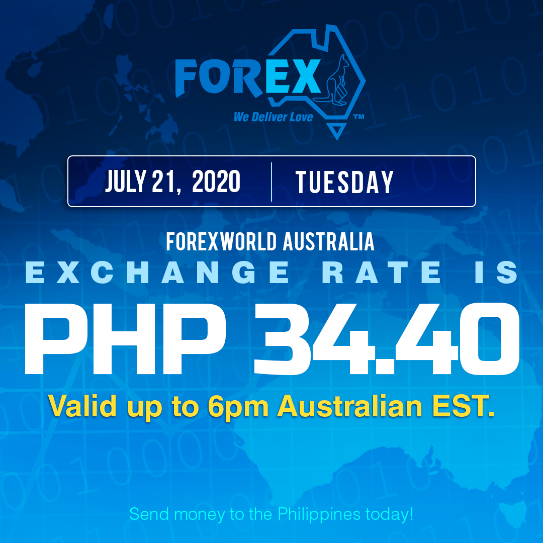 Australian Dollar Philippines Peso exchange rate July 21, 2020