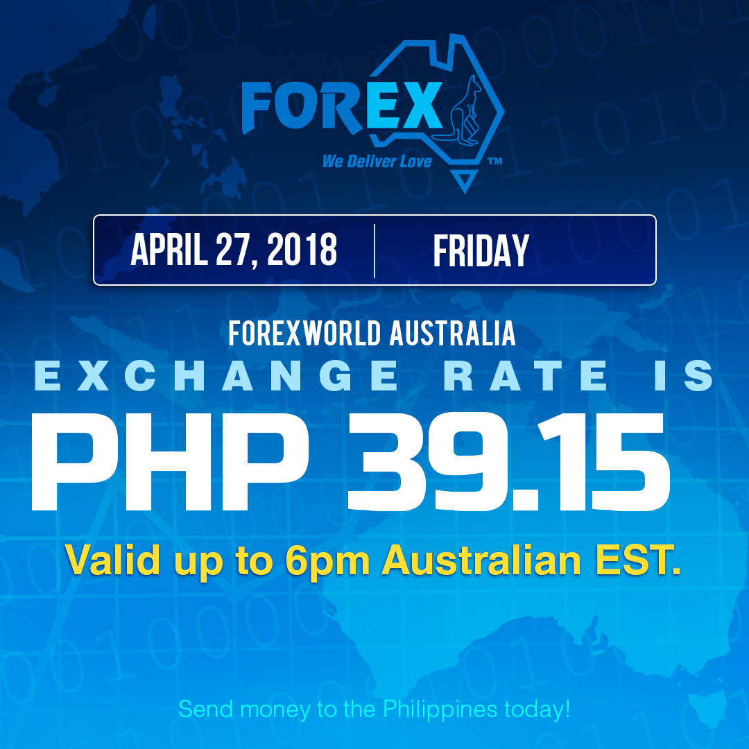 Australian Dollar Philippines Peso exchange rate April 27, 2018