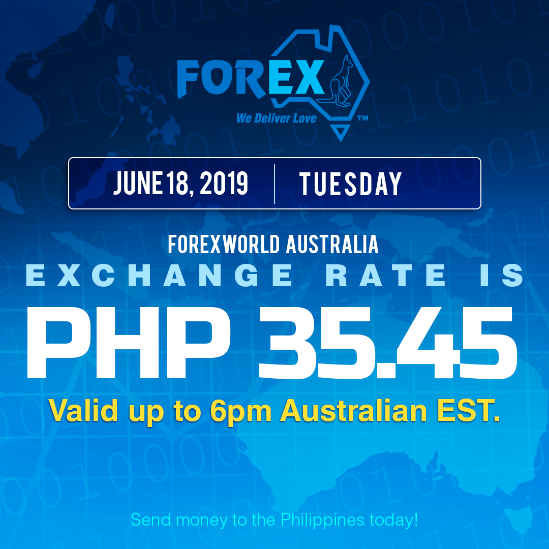 Australian Dollar Philippines Peso exchange rate June 18, 2019