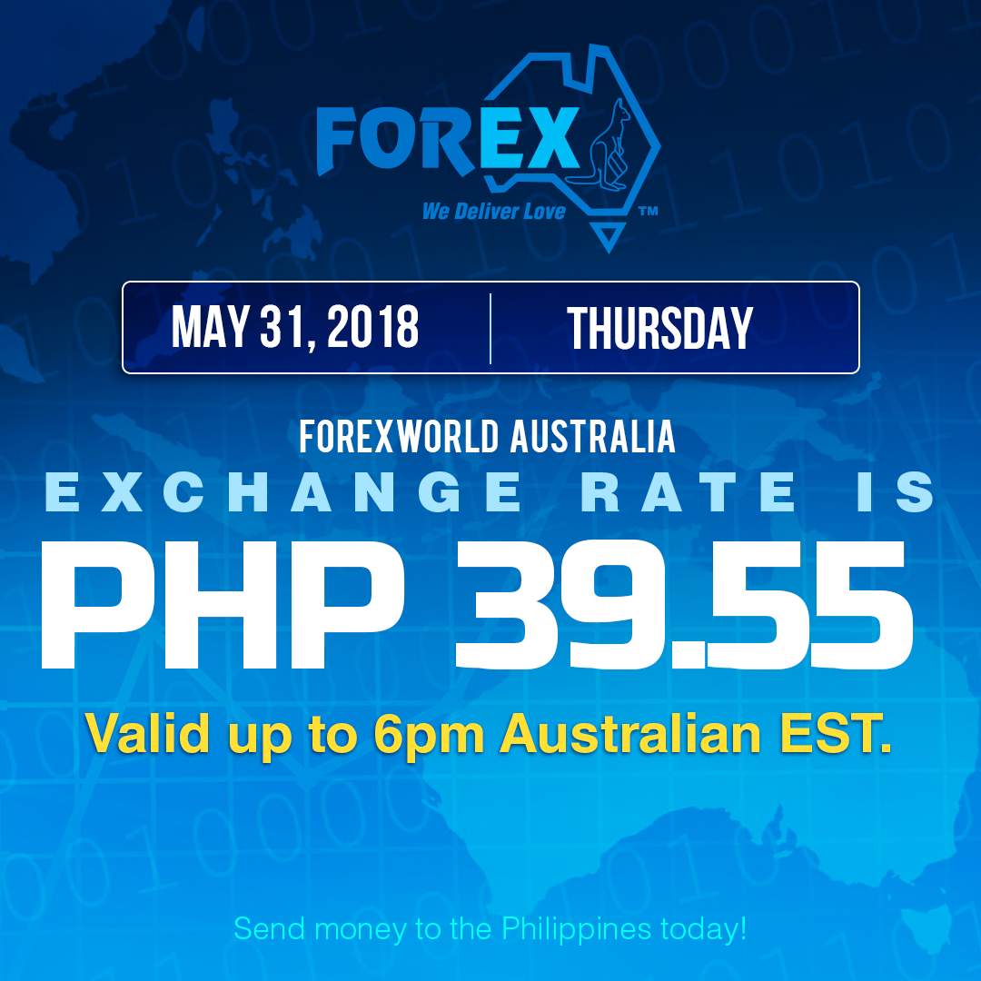 Australian Dollar Philippines Peso exchange rate May 31, 2018