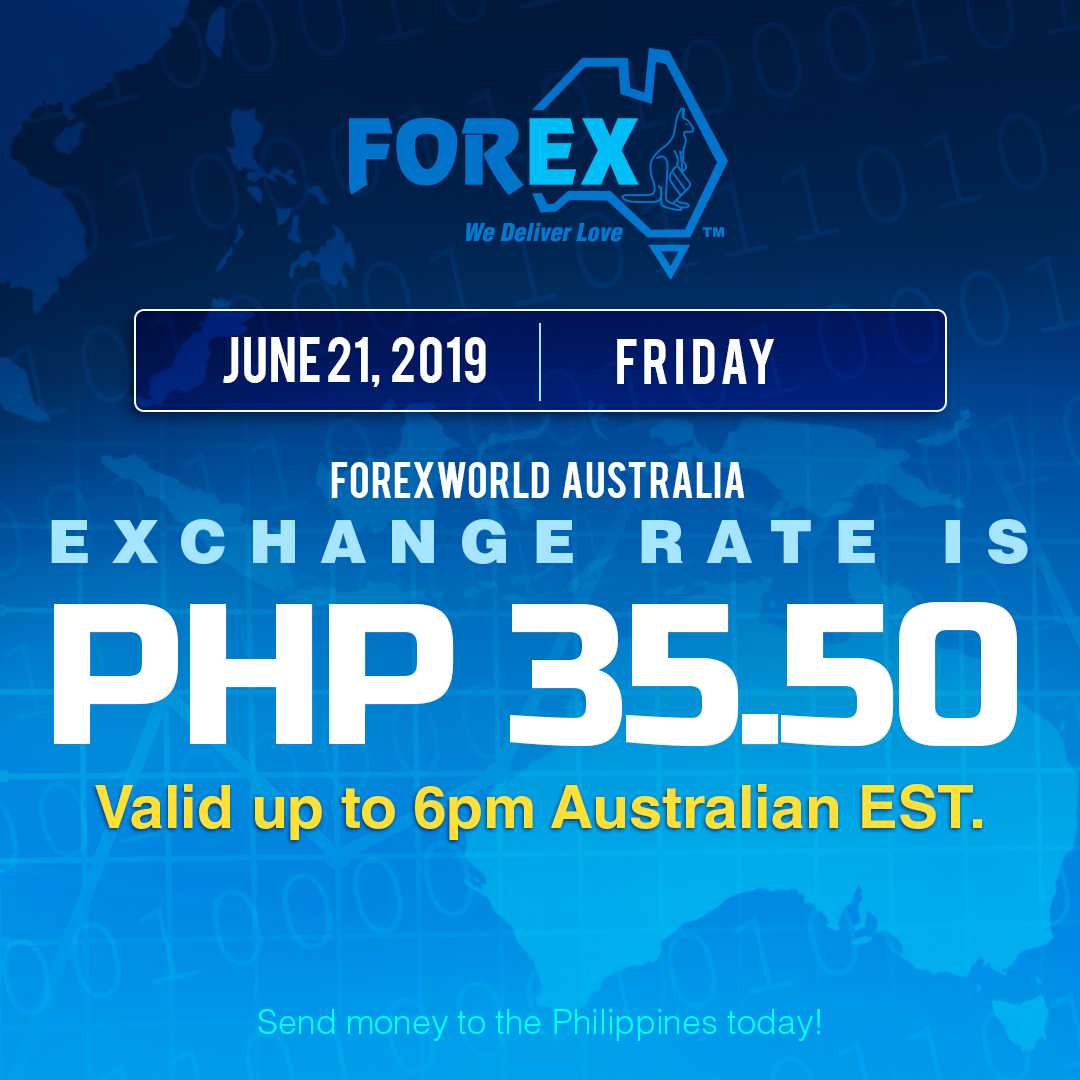 Australian Dollar Philippines Peso exchange rate June 21, 2019