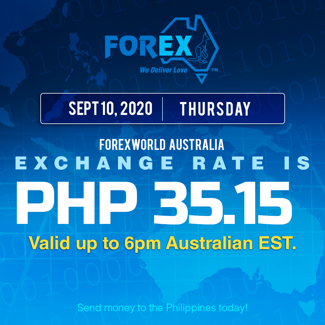 Australian Dollar Philippines Peso exchange rate September 10, 2020