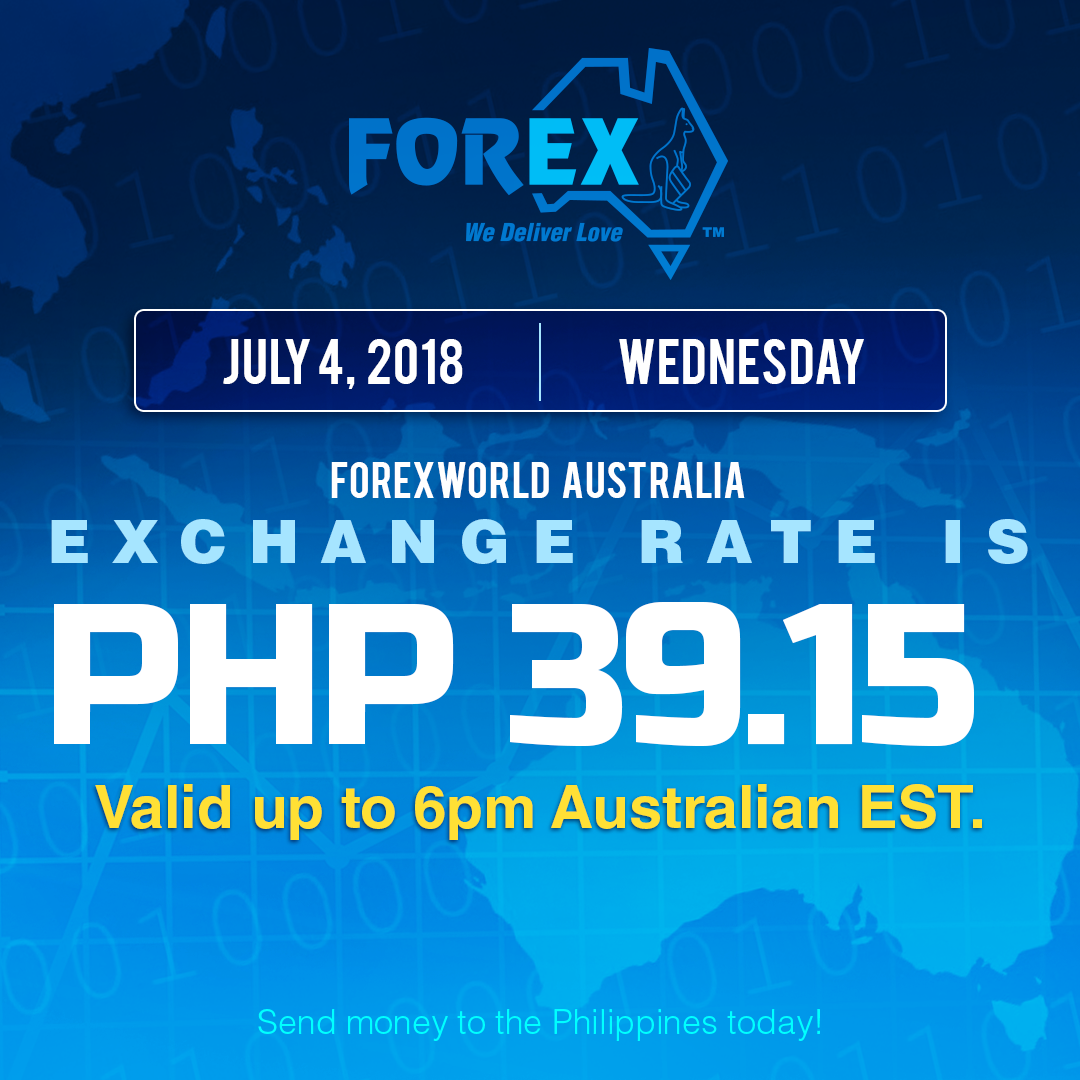 Australian Dollar Philippines Peso exchange rate July 4, 2018