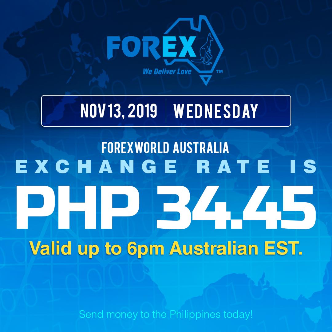 Australian Dollar Philippines Peso exchange rate November 13, 2019