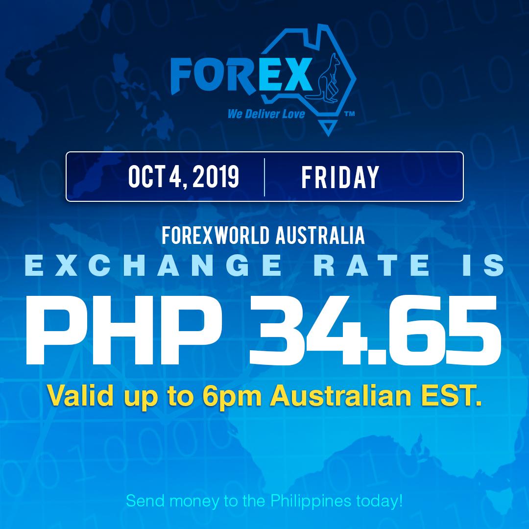 Australian Dollar Philippines Peso exchange rate October 4, 2019
