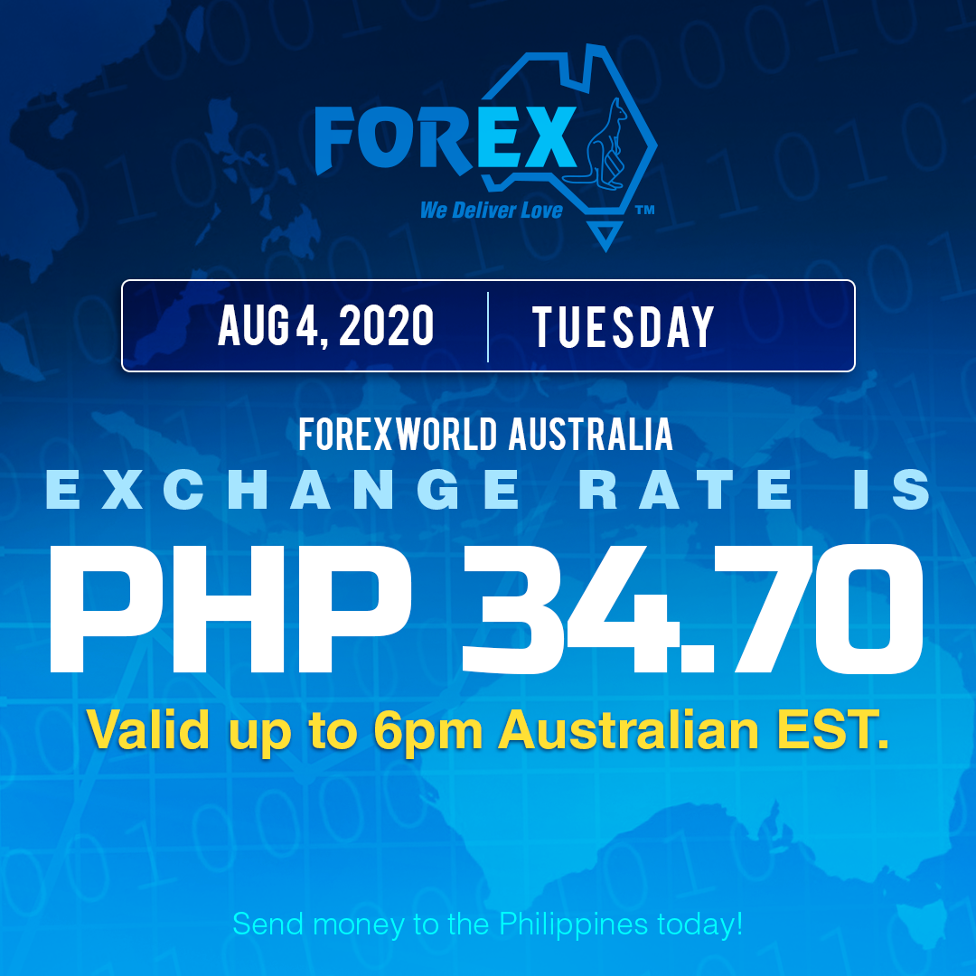 Australian Dollar Philippines Peso exchange rate August 4, 2020