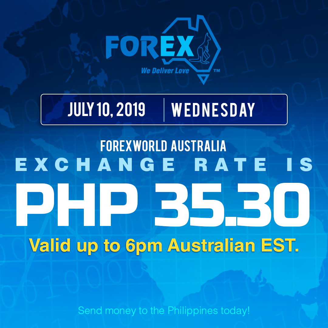 Australian Dollar Philippines Peso exchange rate July 10, 2019