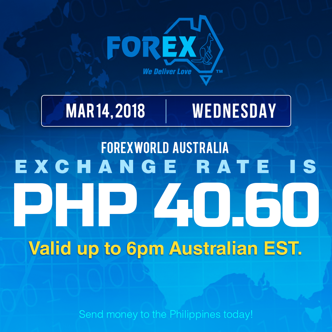 Australian Dollar Philippines Peso exchange rate March 14, 2018