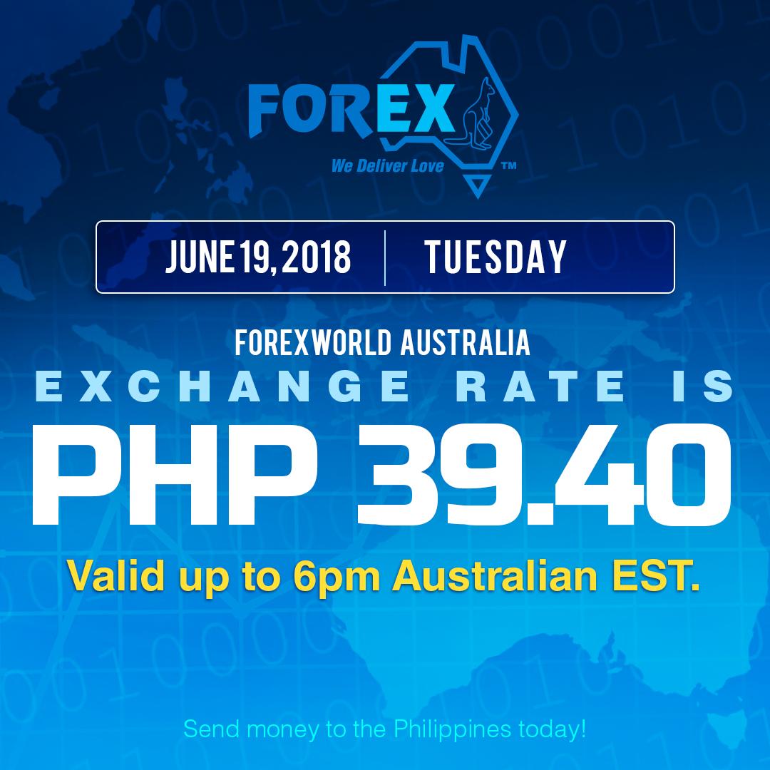 Australian Dollar Philippines Peso exchange rate June 19, 2018
