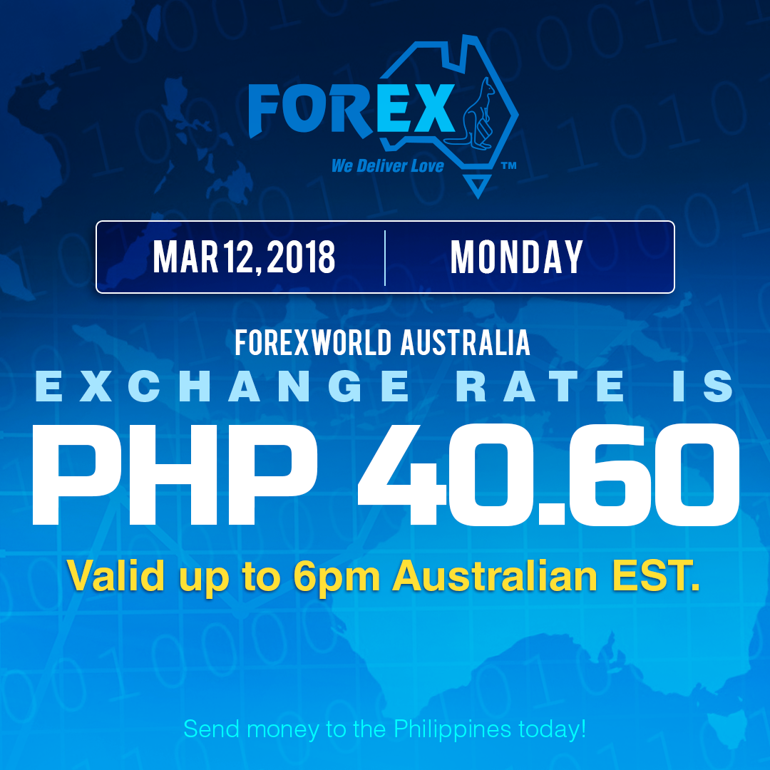 Australian Dollar Philippines Peso exchange rate March 12, 2018