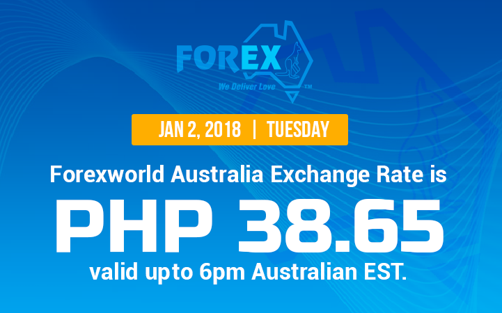 Australian Dollar Philippines Peso exchange rate January 2, 2018