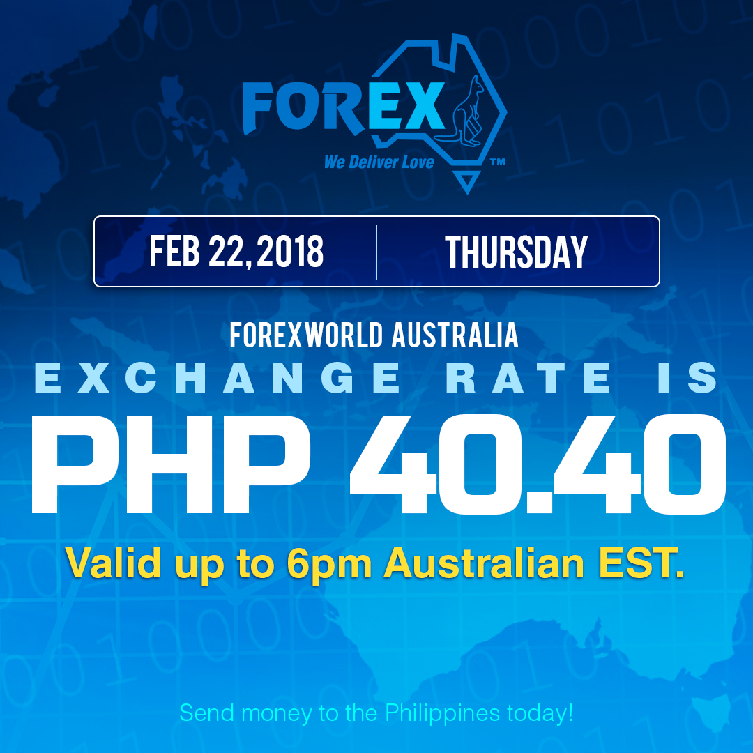 Australian Dollar Philippines Peso exchange rate February 22, 2018