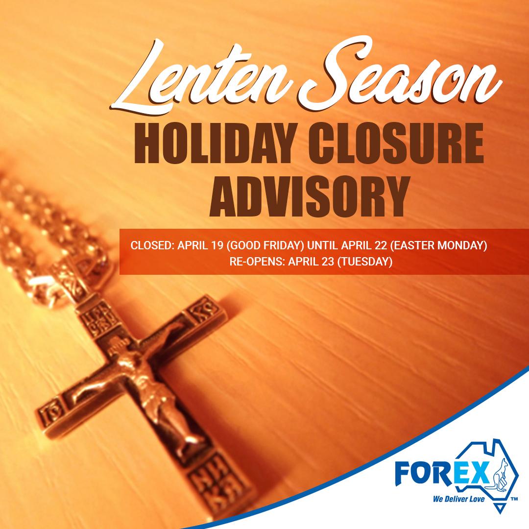 Lenten Season Holiday Advisory