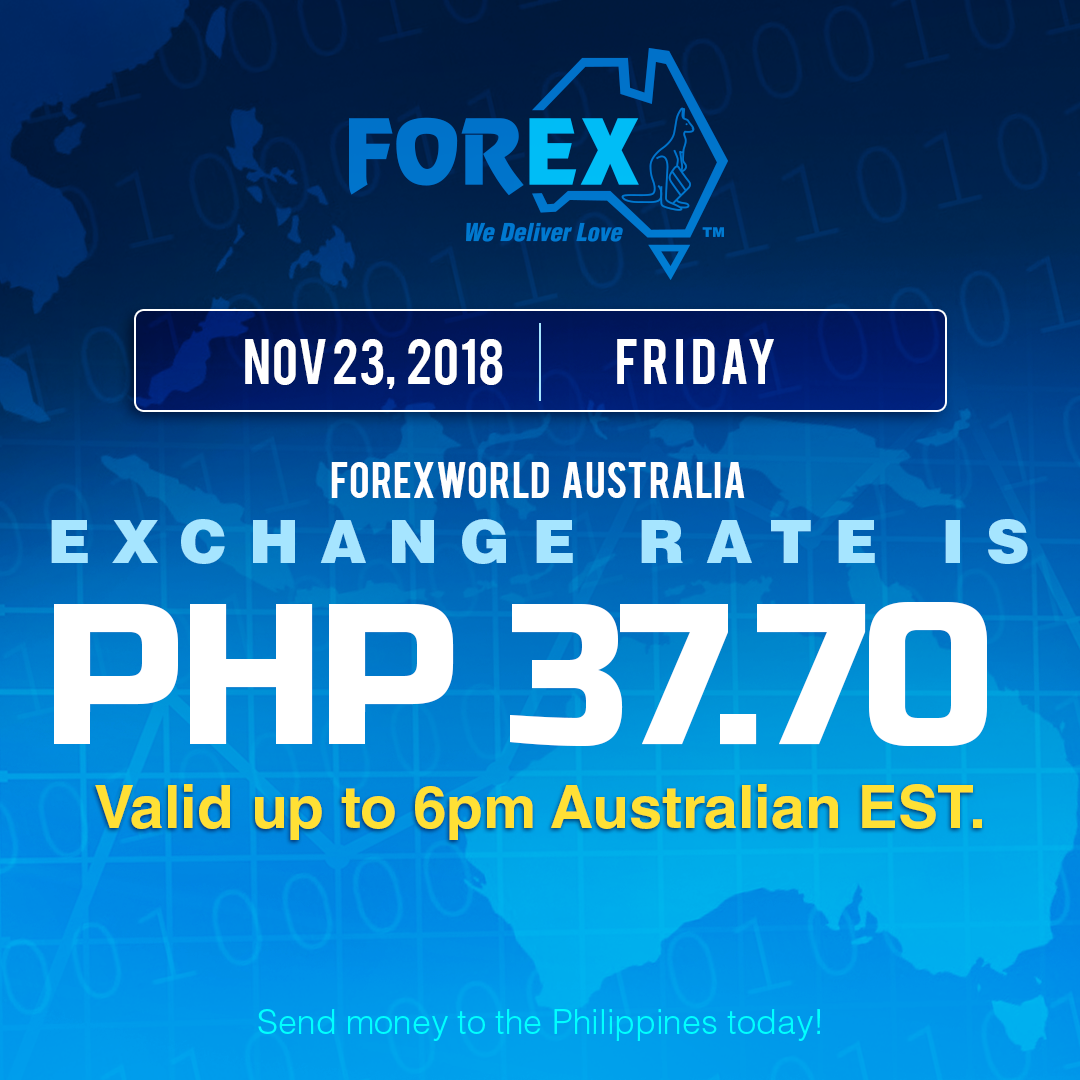 Australian Dollar Philippines Peso exchange rate November 23, 2018