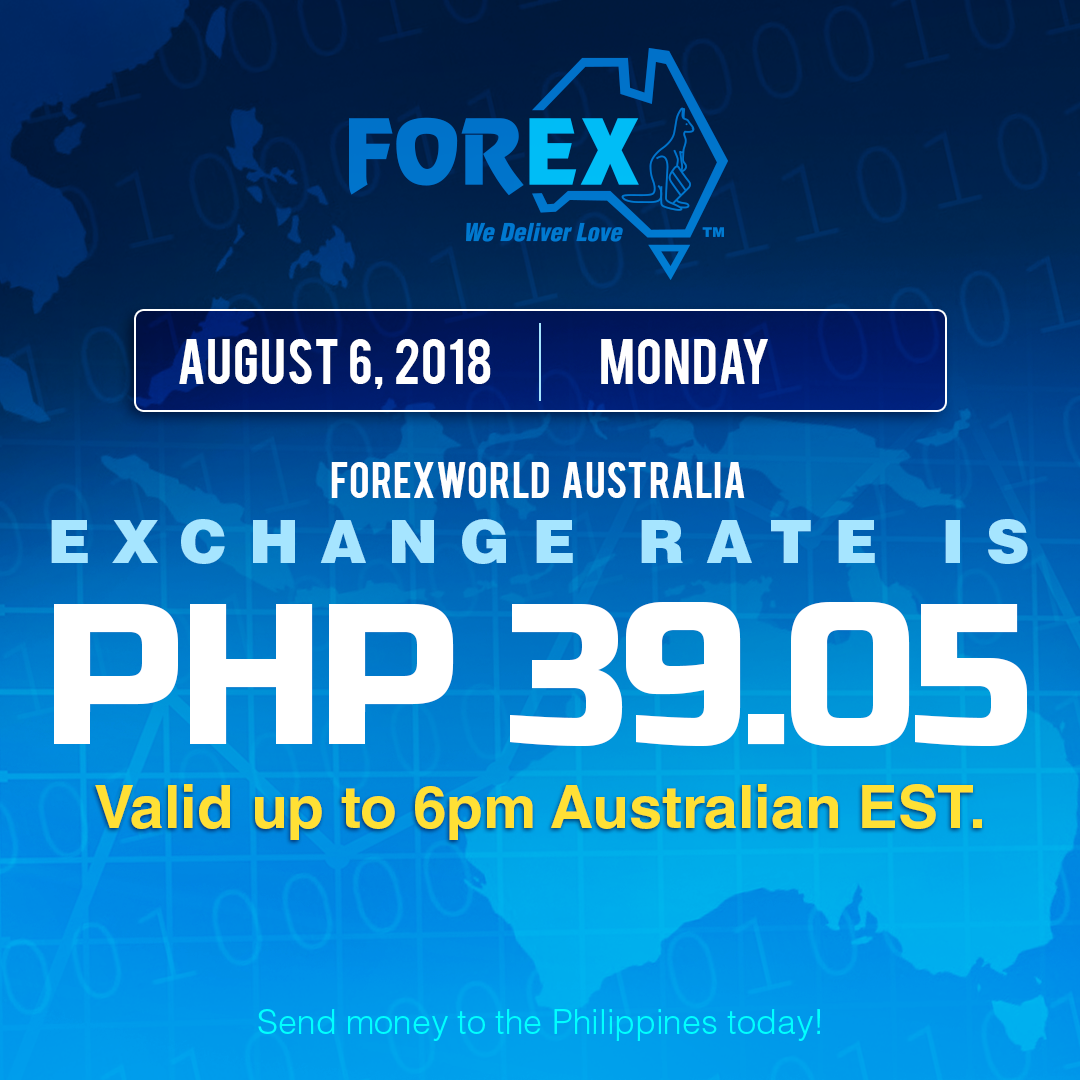 Australian Dollar Philippines Peso exchange rate August 6, 2018