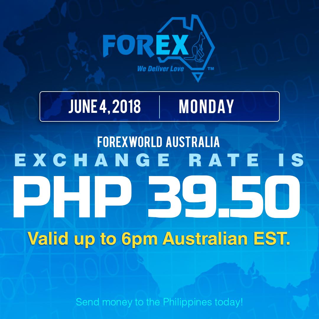 Australian Dollar Philippines Peso exchange rate June 4, 2018