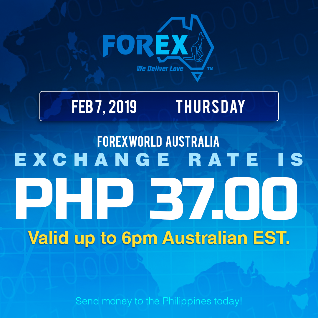 Australian Dollar Philippines Peso exchange rate February 7, 2019