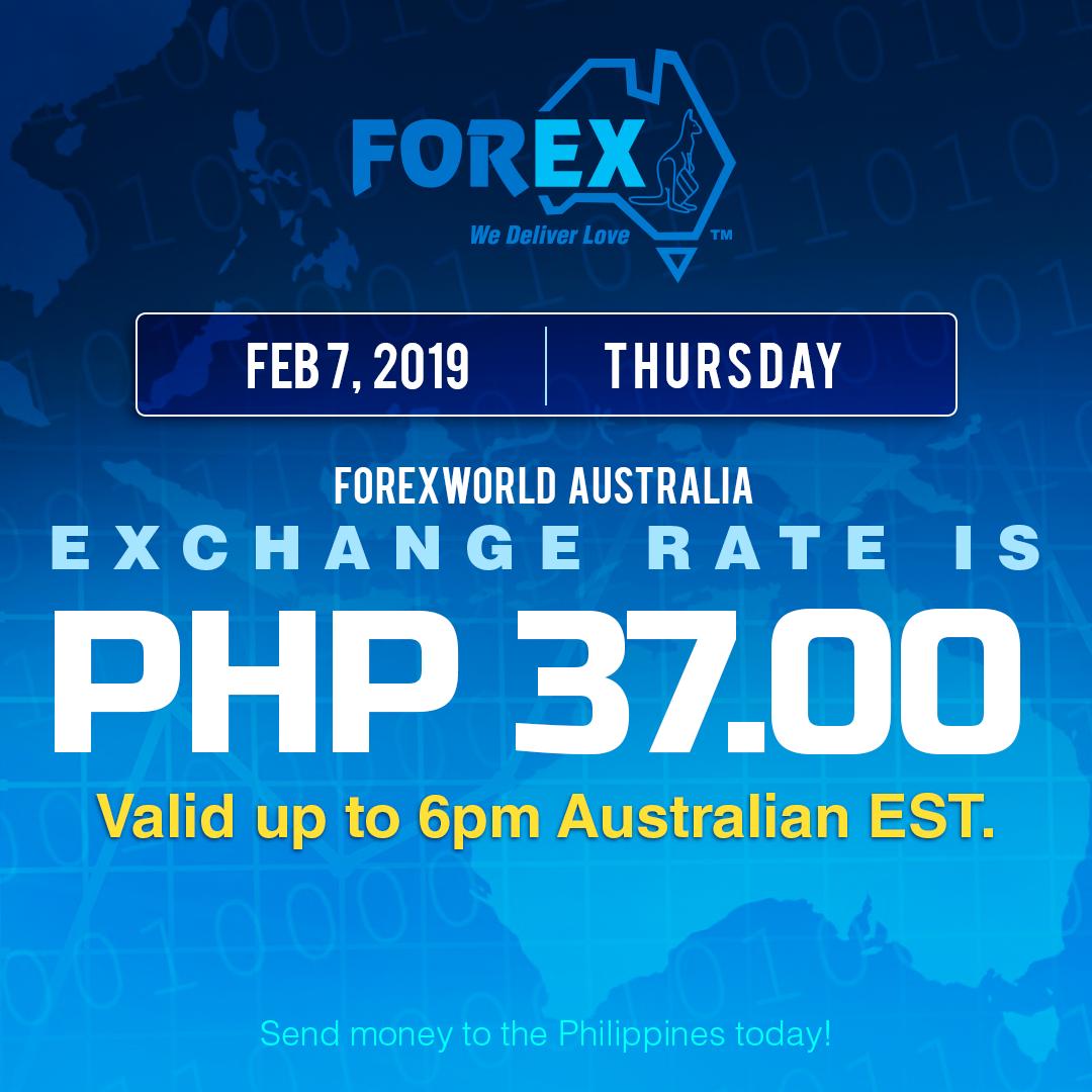 Australian Dollar Philippines Peso exchange rate February 7, 2019